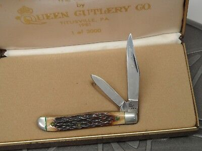 Vintage Queen Cutlery Co. Master Culter No. 4 The Peanut Bone Knife USA 1981