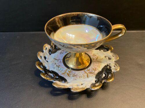 """Vtg Lefton Tea Cup & Saucer White, Black & Gold Lusterware """"1940"""