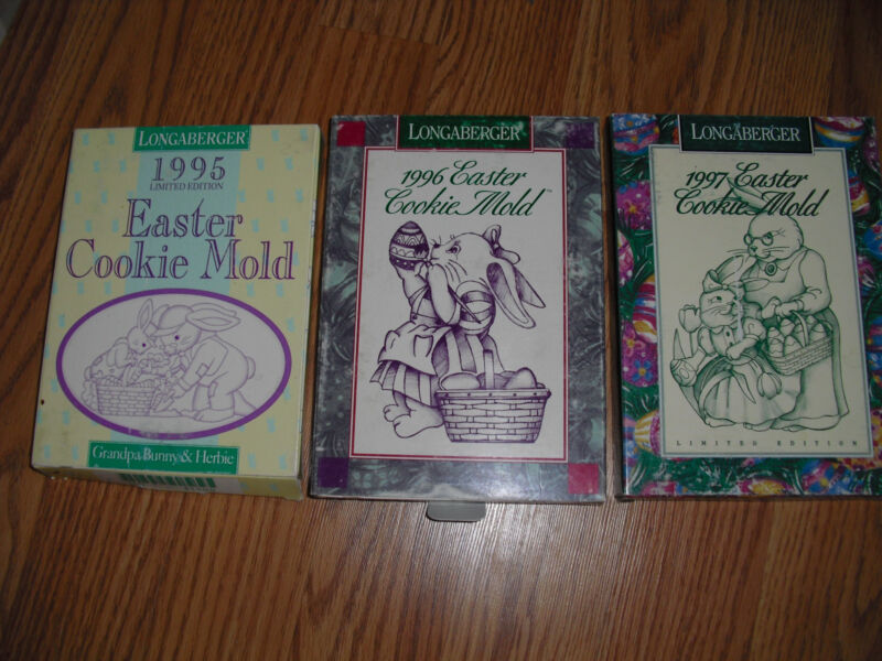 LONGABERGER EASTER COOKIE MOLDS LTD. EDITIONS - 1995 - 1996 - 1997