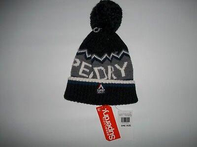 SUPERDRY Black CHEVRON Bobble Top Logo Knit Pom Beanie HAT Cap Mens One Size NEW