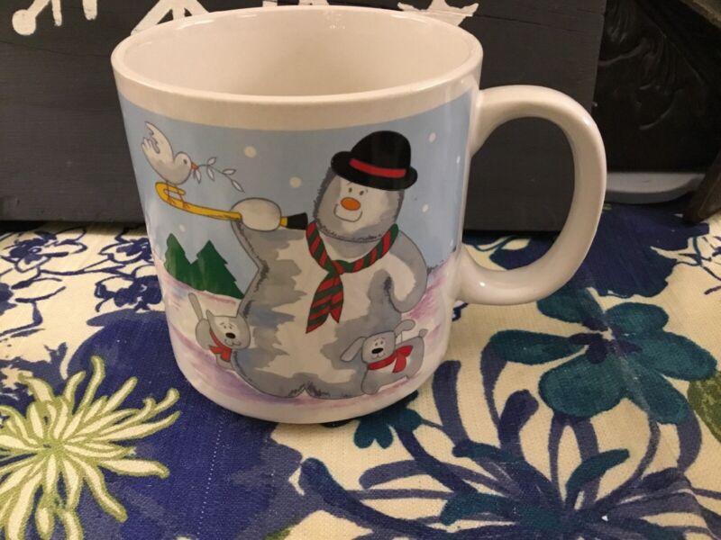 Grant Howard Holiday Coffee Mug Snowman Tree Dog Cat Tea  1990 Dove Christmas