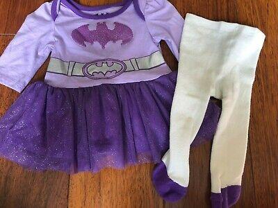 baby girls BATMAN 2 PIECE DRESS white knit tights PURPLE TUTU SKIRT 0/3 months 2 Piece Dress Tights