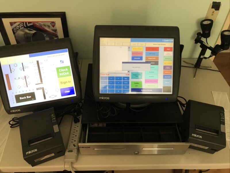 Micros Workstation 5 POS Components 2 Screens, 2 Printers & Cash Drawer