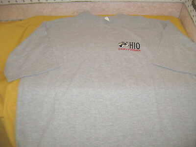 Embroidered Holstein Cow - OHIO DAIRY FARMER Gray T-Shirt New! NWT Adult XXXL 3X Ohio Embroidered T-shirt