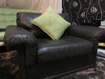 Real leather sofa louge dark grey Noble Park Greater Dandenong Preview