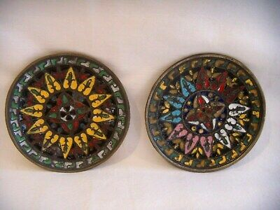 2 Vintage Greek Cloisonne Enamel Wall Hanging Small Decorative Plates 3.5
