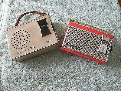 "EMERSON 1959 ""Eldorado"" 911 Transistor ""9"" Nevabreak Pocket Radio, w/case, USA"