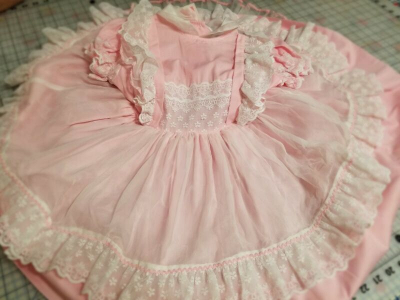Vintage PINK Betty Oden Dress 6 Full Ruffled Frilly Sheer Circle Party Pageant