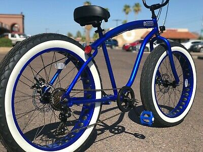 Fat Tire Beach Cruiser Bike ELECTRIC BLUE - 7 SPEED-CUTOUT RIMS