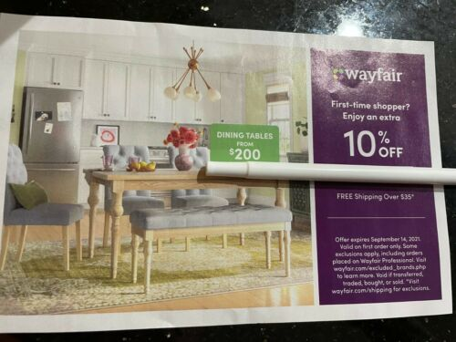 Wayfair 10% off ENTIRE purchase exp 9/14/2021, Valid on FIRST ORDER only