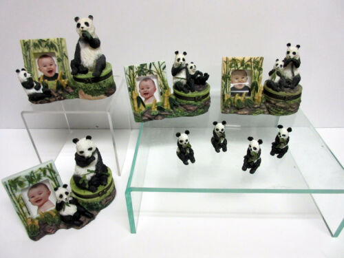 New Panda Bear Clasp Box Set of 4 Boxes & Frames 12 Pandas 290.65E