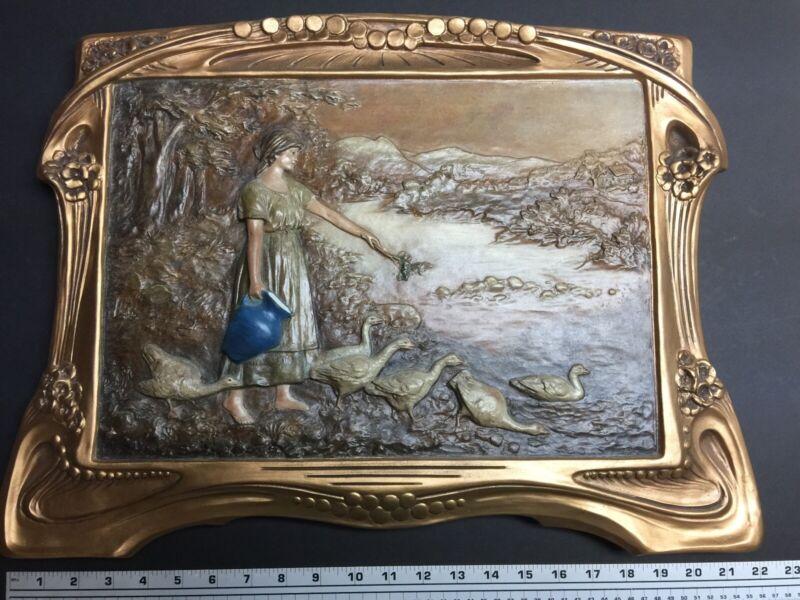 Antique Johann Maresch Art Nouveau Relief Plaque