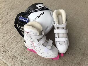 Girl's skates and helmet