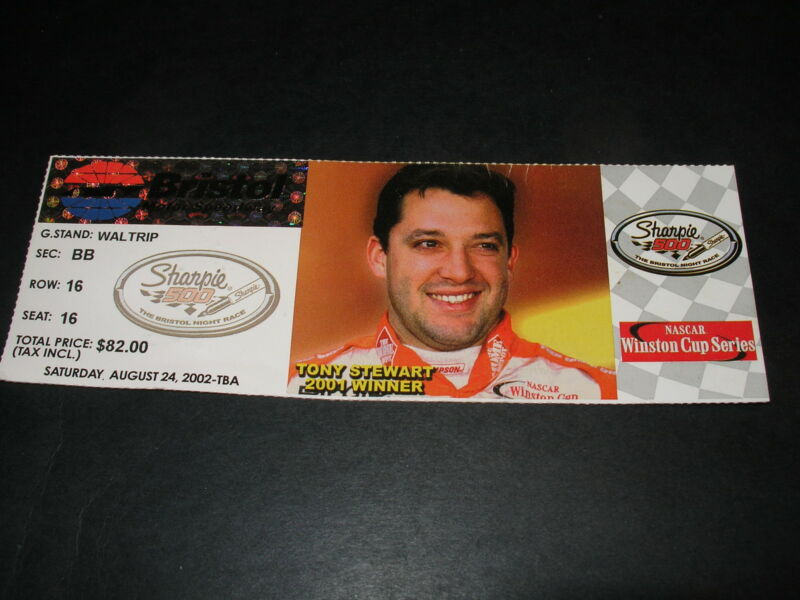 2002 Nascar Bristol Sharpie 500 Ticket Stub Jeff Gordon Win and Pole Stewart