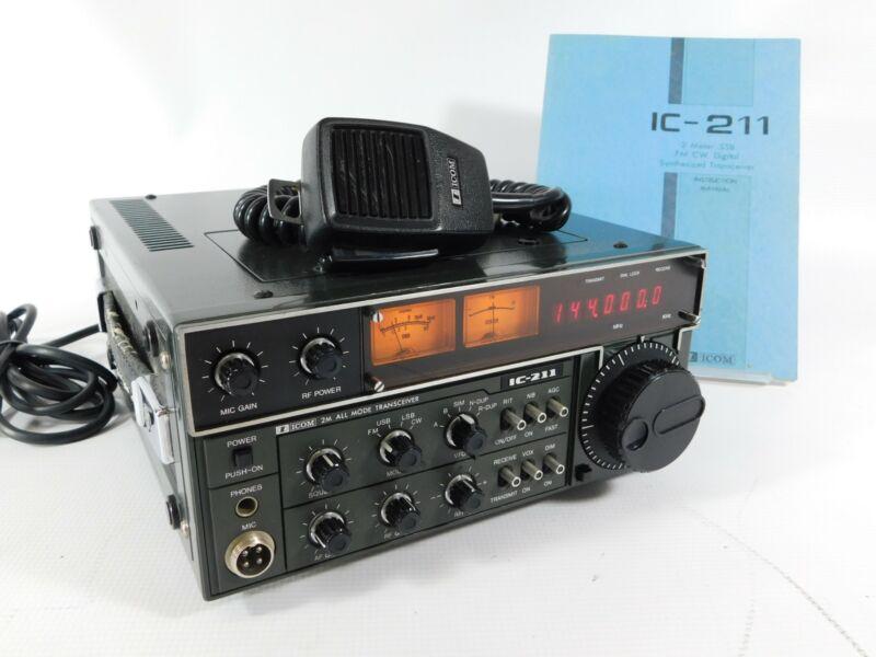 Icom IC-211 2-Meter All-Mode Ham Radio Transceiver + Mic + Manual (very nice)
