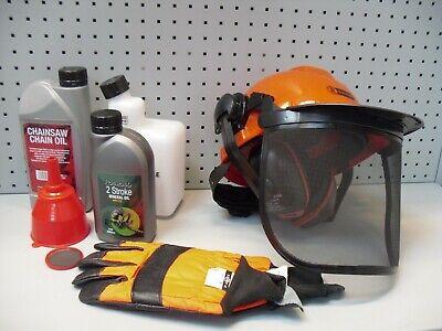 6 Piece Chainsaw Starter Kit - Helmet, Gloves, Oils, Funnel And Mixing Bottle