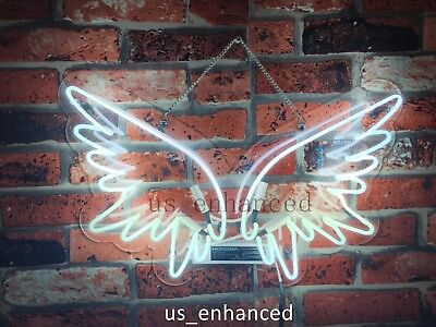 New Angel Wings Wall Home Decor Handcrafted Real Glass Gift Neon Sign -