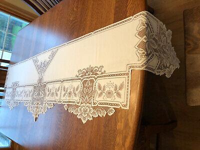 "Dresser Scarf or Mantel Shelf Runner Ivory Heritage Lace 92"" X 20"""
