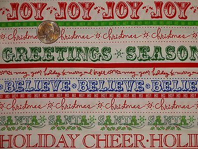 Christmas Words Joy Believe Heidi Grace Cotton Quilting Fabric BTY By The Yard - $9.99