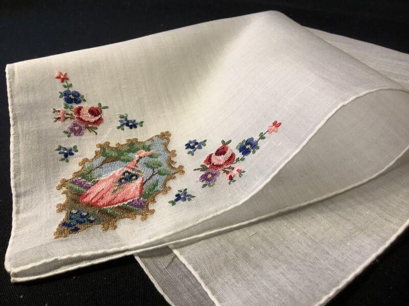 #8169🌟PREMIUM Vintage PETITPOINT Colonial SUNBONNET Belle Garden Handkerchief
