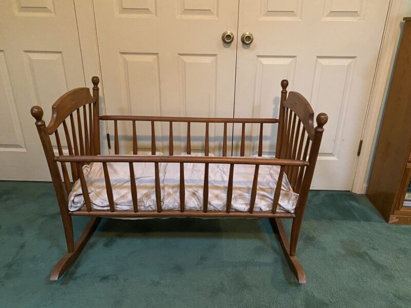 antique wood baby crib