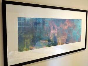 Large blue framed abstract artwork 148x69cm ready to hang Arncliffe Rockdale Area Preview