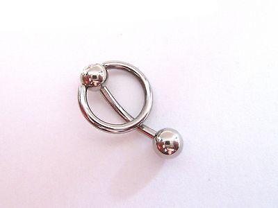 Surgical Steel Dangle Curved Barbell Bar VCH Clit Clitoral Hood Ring 14 gauge