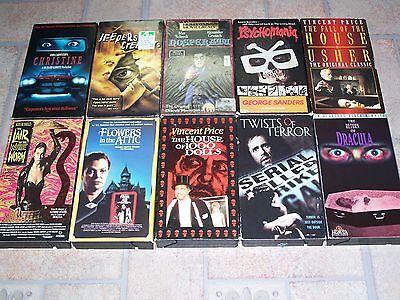 10 Horror VHS Lot: Christine, Jeepers, Nosferatu, Usher, White Worm, Attic, Drac