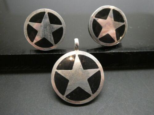 Vintage STAR Signed M.L. Sterling Silver Black Enamel Pendant & Earring Set