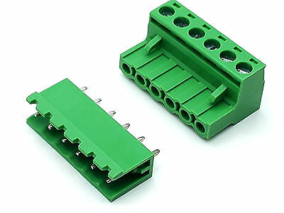 Us Stock 10set 2edg 6 Pin 6p Plug-in Screw Terminal Block Connector 5.08mm Pitch