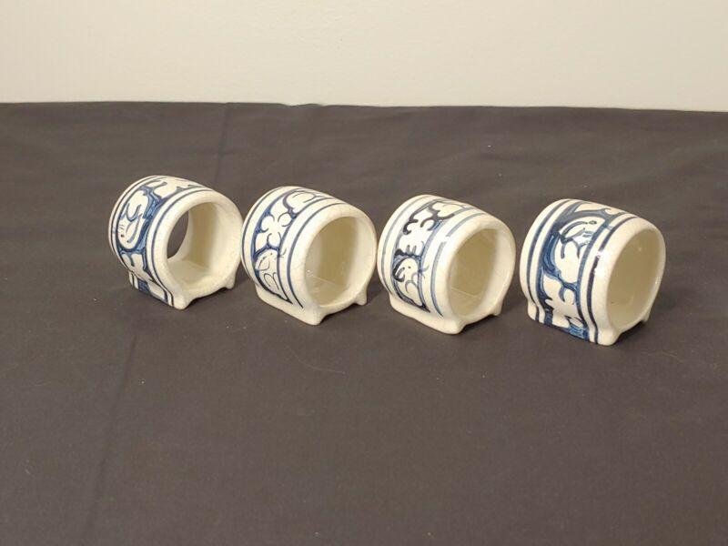 Dedham Pottery Potting Shed Bunny Rabbit Napkin Rings (Set of 4)