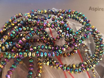 Electroplate Glass Beads, Faceted, Abacus, Multi-color Plated, 3x2mm, Hole: 1mm