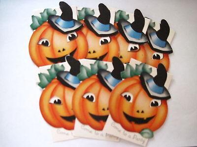 Set aus (7) Vintage Halloween Einladungen mit / Kürbis Tragen Hexenhut Unbenutzt