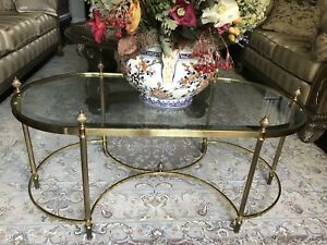 Hollywood Regency French Style Brass Glass Cocktail Table