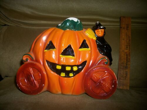 Vintage Rubens Originals #6124 Halloween Pumpkin Coach & Witch Planter Japan Old