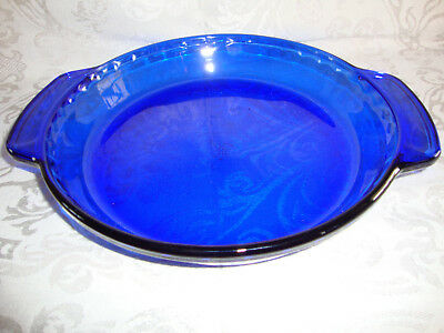 ANCHOR HOCKING COBALT BLUE GLASS DEEP PIE PLATE BAKER w/ TAB HANDLES - 9 inch