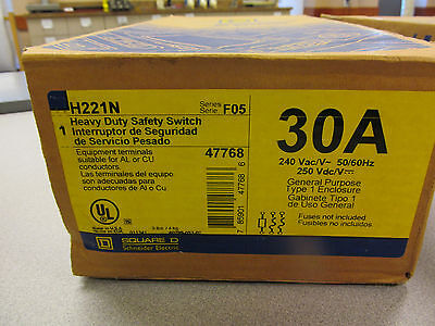 Square D H221N Heavy Duty Safety Switch Fusible 30 Amp Type 1 240 V