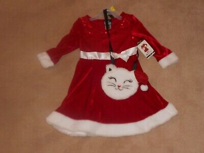 NEW, TODDLER GIRLS RED SEQUIN & VELVET DRESS WITH KITTY CAT PURSE, SIZE 3T
