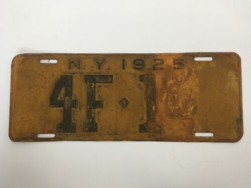 1925 New York License Plate LOW NUMBER 3 Digit VIP Series Washington County 4F1