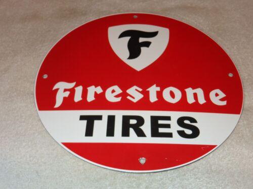 """VINTAGE """"FIRESTONE TIRES"""" 11 3/4"""" PORCELAIN METAL GASOLINE & OIL SIGN PUMP PLATE"""