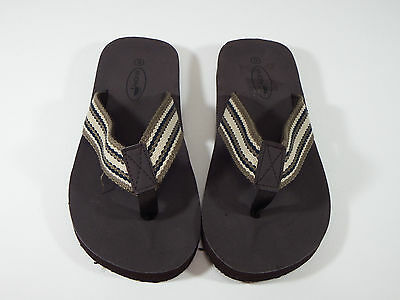 Sandal Shoes Men sz 9 M Resort Dark Brown Light Stripe FlipFlop Thong