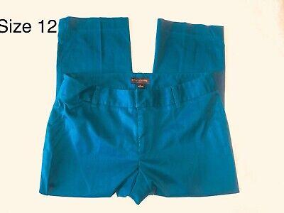 BANANA REPUBLIC Capris Pants Women's 12 Stretch Teal Flat Front Cotton Blend Blend Capri-hosen
