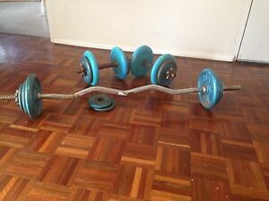Dumbell and EZ Bar + weights Neutral Bay North Sydney Area Preview