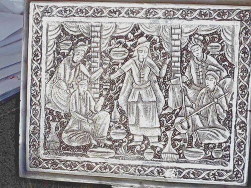 ANTIQUE SILVER ISFAHAN PERSIAN TABLE TOP VANITY CIGARETTE BOX ILIATI DESIGN