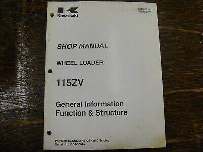 Kawasaki 115zv Wheel Loader Function Structure Shop Service Repair Manual
