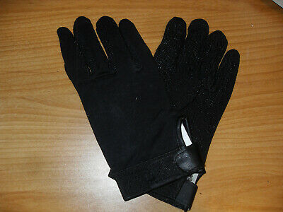 NEW BLACK  STRETCH ENGLISH HORSE SHOW RIDING GLOVES ADULT SIZE L W/ PIMPLED PALM Ride Stretch Gloves