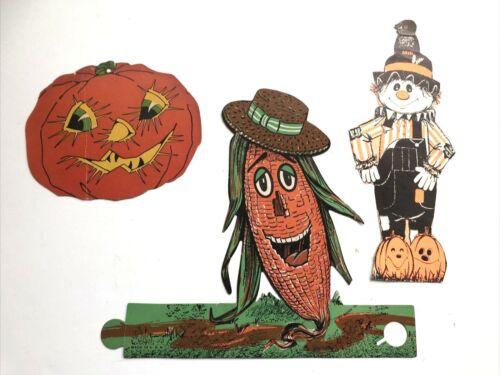 "VTG Beistle Mix Halloween Scarecrow, Pumpkin, Corn Cobb Decoration Cutout 9"""
