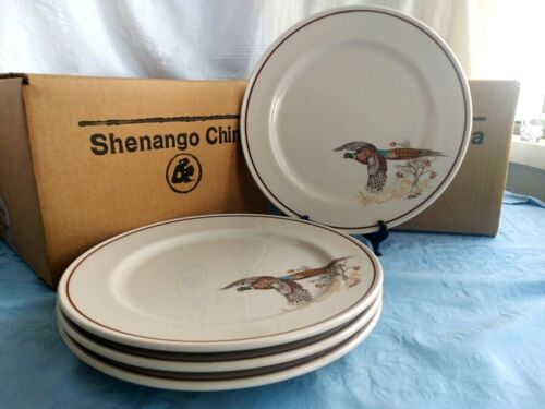 "4 SHENANGO CHINA Pheasants w/ Red Acccent DINNER PLATES 10 3/4"" Restaurant Ware"