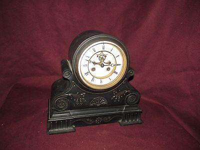 Antique American Victorian Black Marble Mantle Clock Hammon and Koch New (American Mantle Clocks)