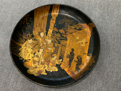 Antique Japanese Likely Meiji Lacquer Ware Plate w/ Figures Watching a Play